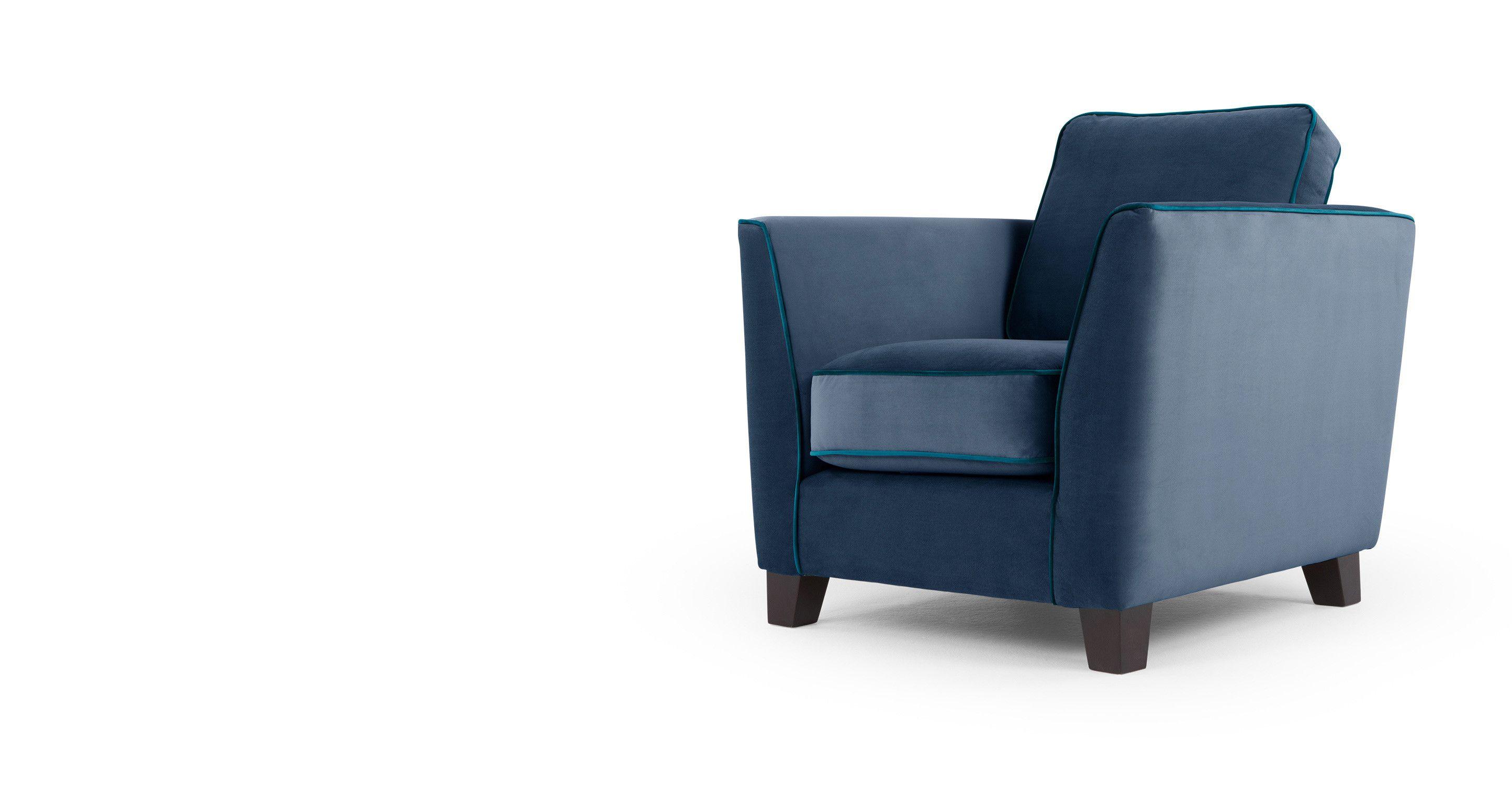 Wolseley un fauteuil velours bleu marine
