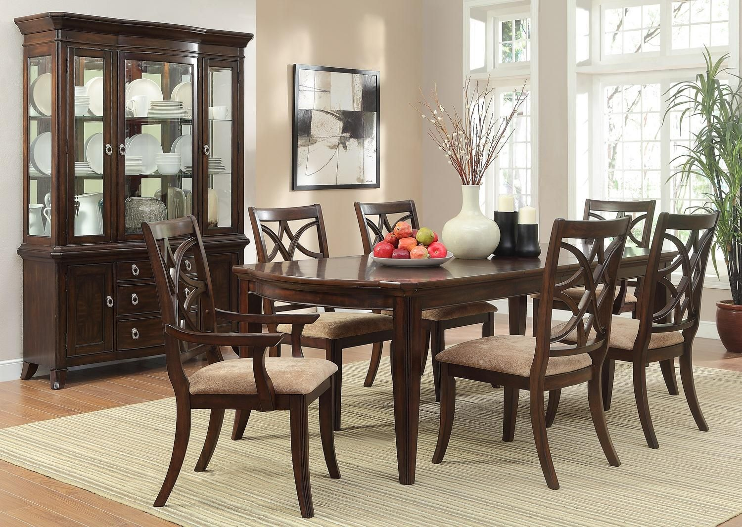 Homelegance Keegan 7 Piece Dining Set Va Md & Dc $950 Marlo Alluring Dining Room Set With Hutch Design Ideas