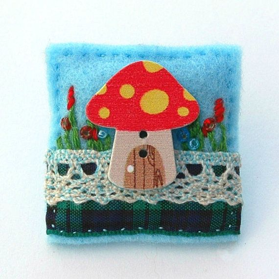 Toadstool brooch  fairy toadstool  fairy by elliestreasuresuk