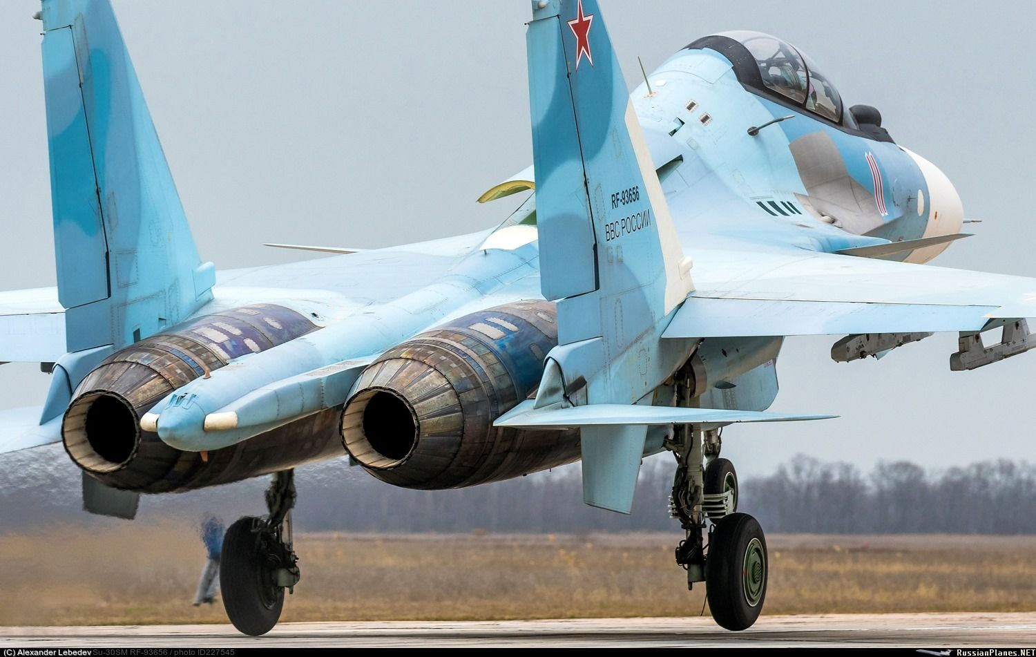 Military Aircraft — The Su30SM touching down the runway