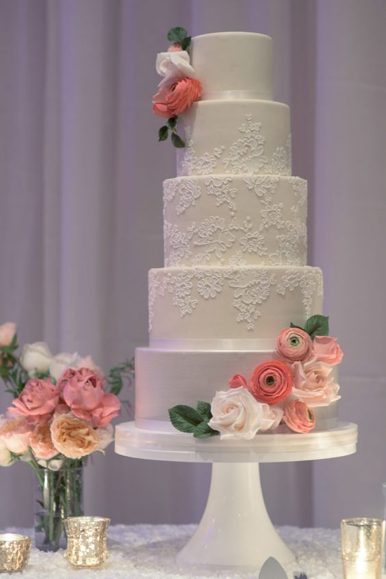 Five Tier White Lace Detail Wedding Cake | Wedding Cakes | Pinterest ...