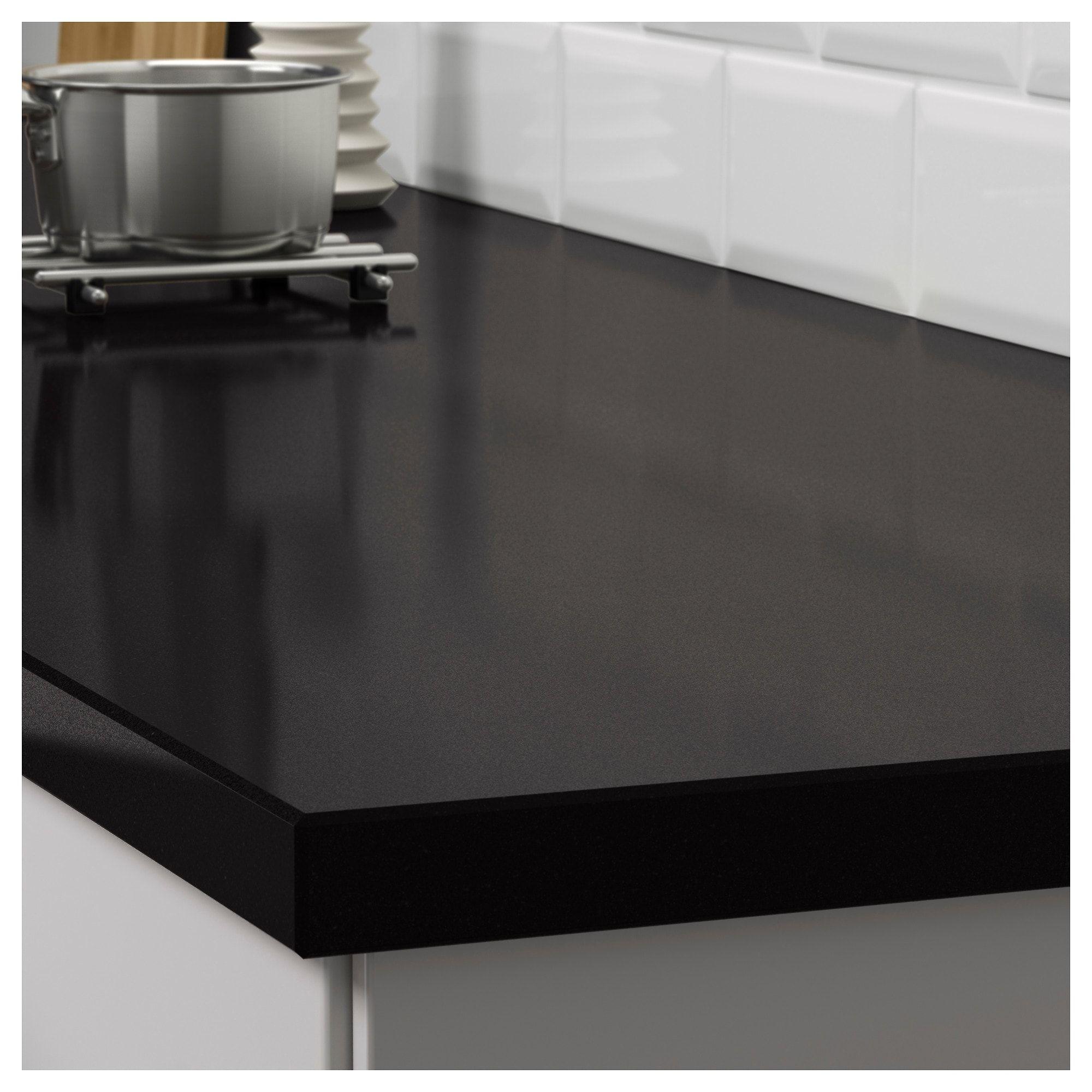 Oxsten Massarbeitsplatte Schwarz Steinmuster Steinkomposit Arbeitsplatte Kuchenarbeitsplatte Und Ikea