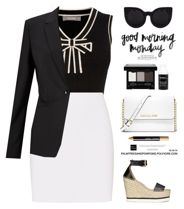 """""""05.09.16 Mondays.... / Oasis Tipped Bow Rib Tank"""" by palmtreesandpompoms ❤ liked on Polyvore featuring Oasis, Helmut Lang, See by Chloé, HUGO, Bobbi Brown Cosmetics, MICHAEL Michael Kors, NYX and Korres"""