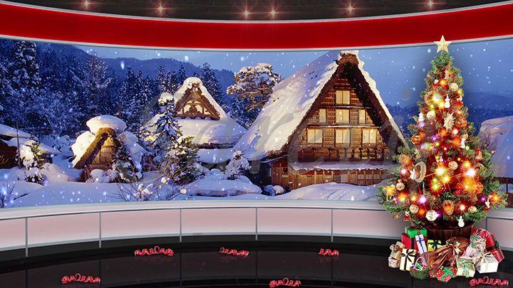 94HD Christmas TV Virtual Studio Green Screen Background ...