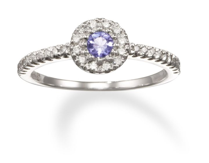 14k White Gold Tanzanite and Diamond Promise Ring