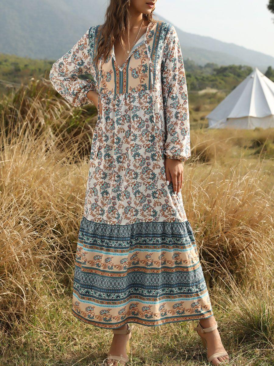 Boho Dress V Neck Long Sleeves Floral Print Summer Dress Milanoo Com In 2021 Floral Print Dress Summer Printed Summer Dresses Holiday Maxi Dress [ 1200 x 900 Pixel ]