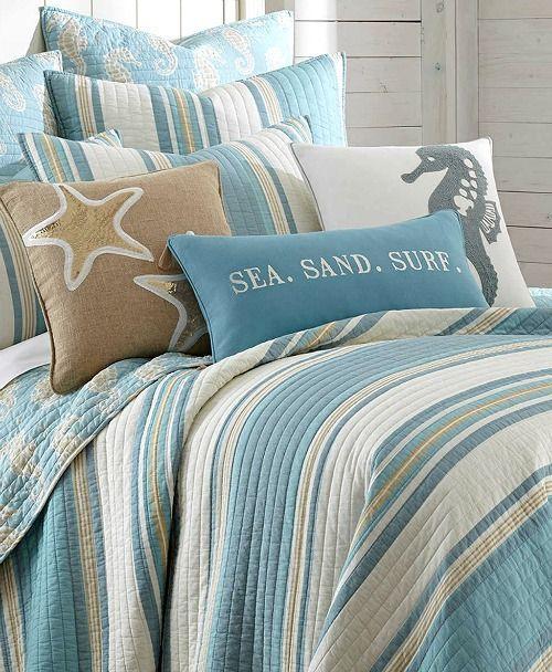 Blue Beach Striped Bedding Quilt Set With Seahorse Motif Coastal