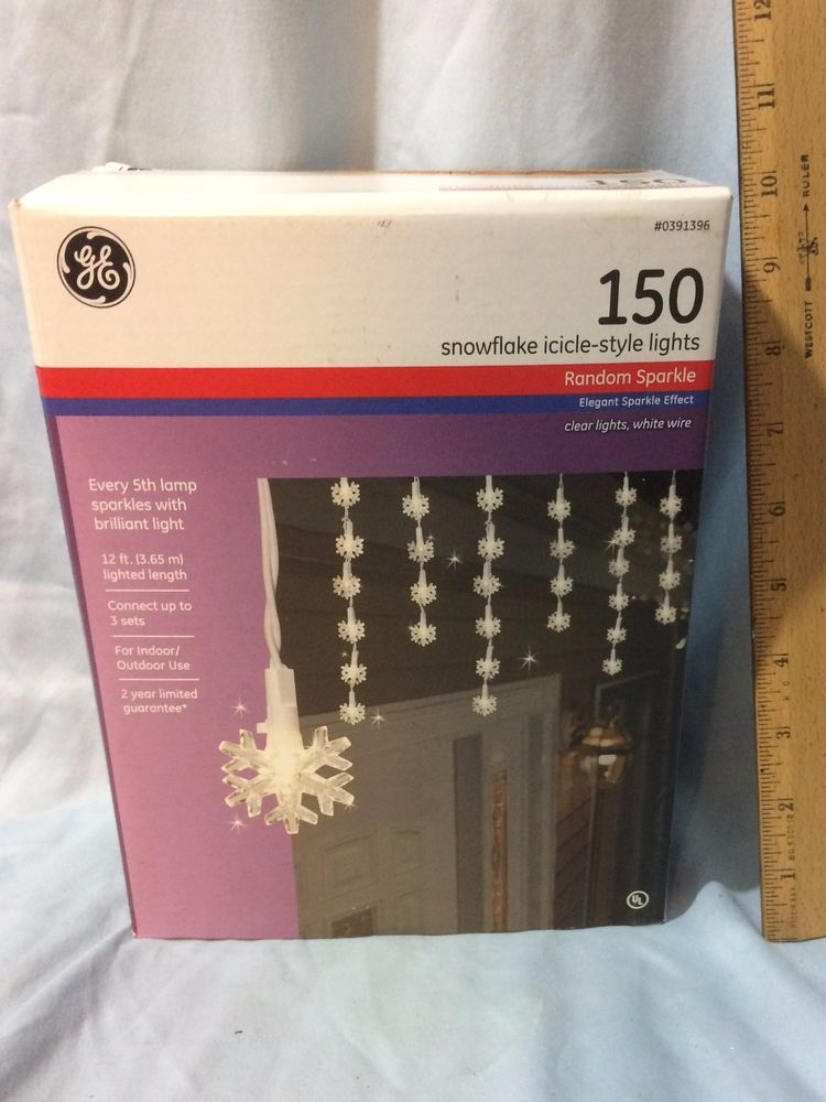 Ge 150 Light Clear Random Sparkle Snowflake Icicle Set Christmas Outdoor 12 Ft Ge Snowflake Lights Lights Christmas Decorations