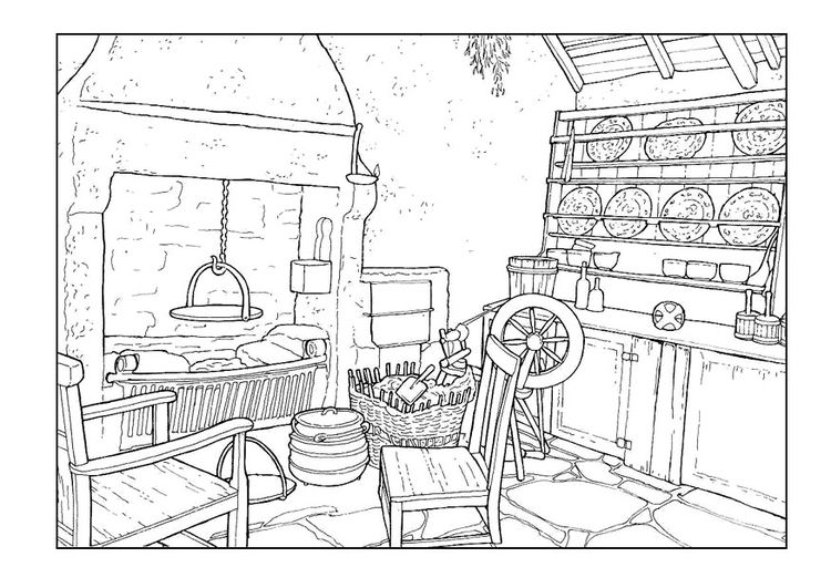 Coloring page living room 18th century | Coloring pages