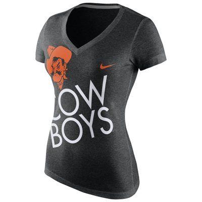 91e0868425d Oklahoma State Cowboys Nike Women s Kilter Tri-Blend Slim Fit V-Neck T-Shirt  – Black