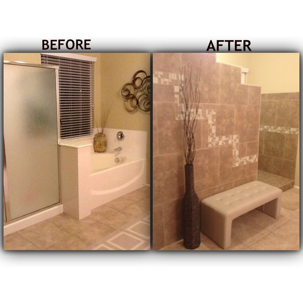 Master Bathroom No Door bathroom remodel. tiled walk in shower with no door. removed the