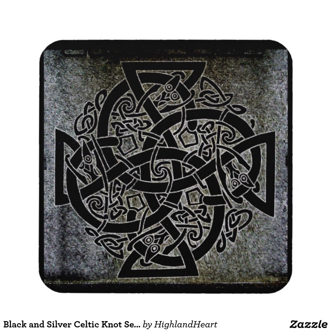 Black and Silver Celtic Knot Set of 6 Coasters