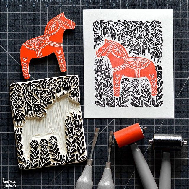 Andrea Lauren (@inkprintrepeat) | It has been a busy few days but I am happy to be stepping away from the computer and carving this dala horse design this morning! Really enjoying these folk themes! | Intagme - The Best Instagram Widget