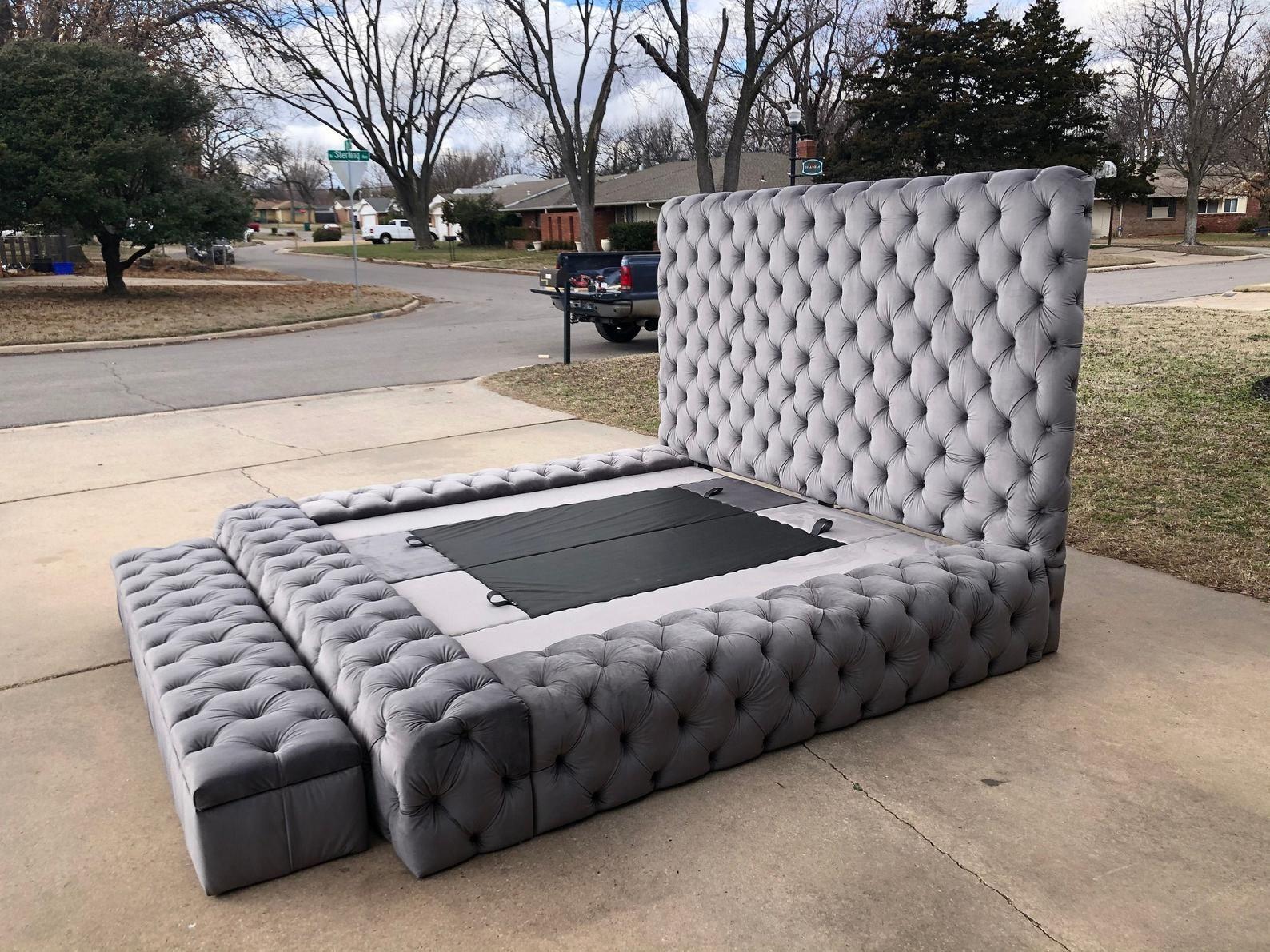 Platform Large Tufted Bed Extra Wide Bed Frame Cry