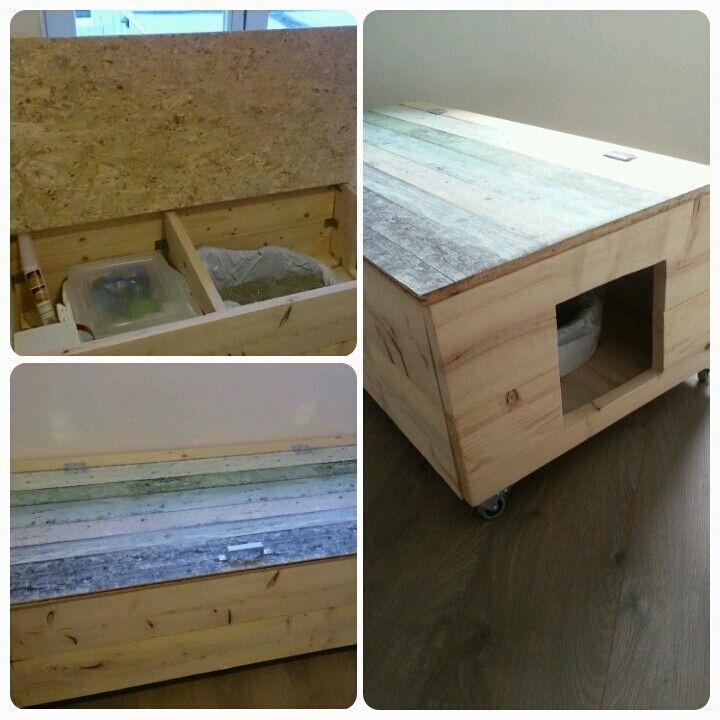 Hedendaags DIY kattenbak ombouw met opbergruimte, gemaakt van steigerhout en XN-64