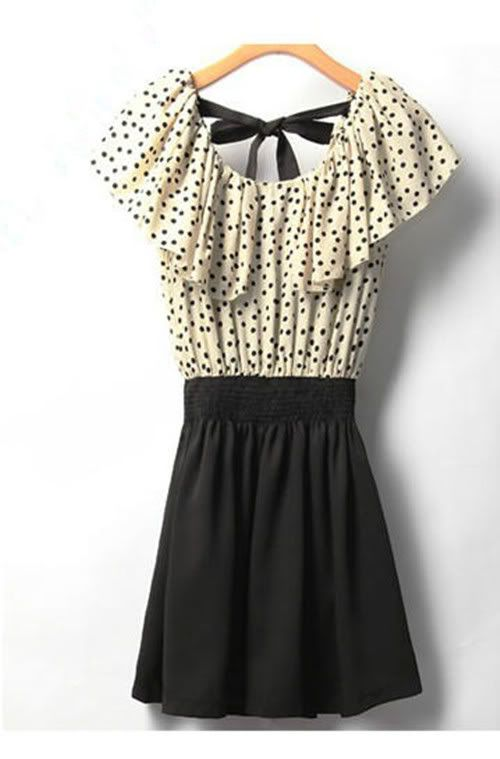 5f02913a339 Fashion Japan Korean Women Summer Fashion Short Sleeve Dot Polka Waist  Dress Top