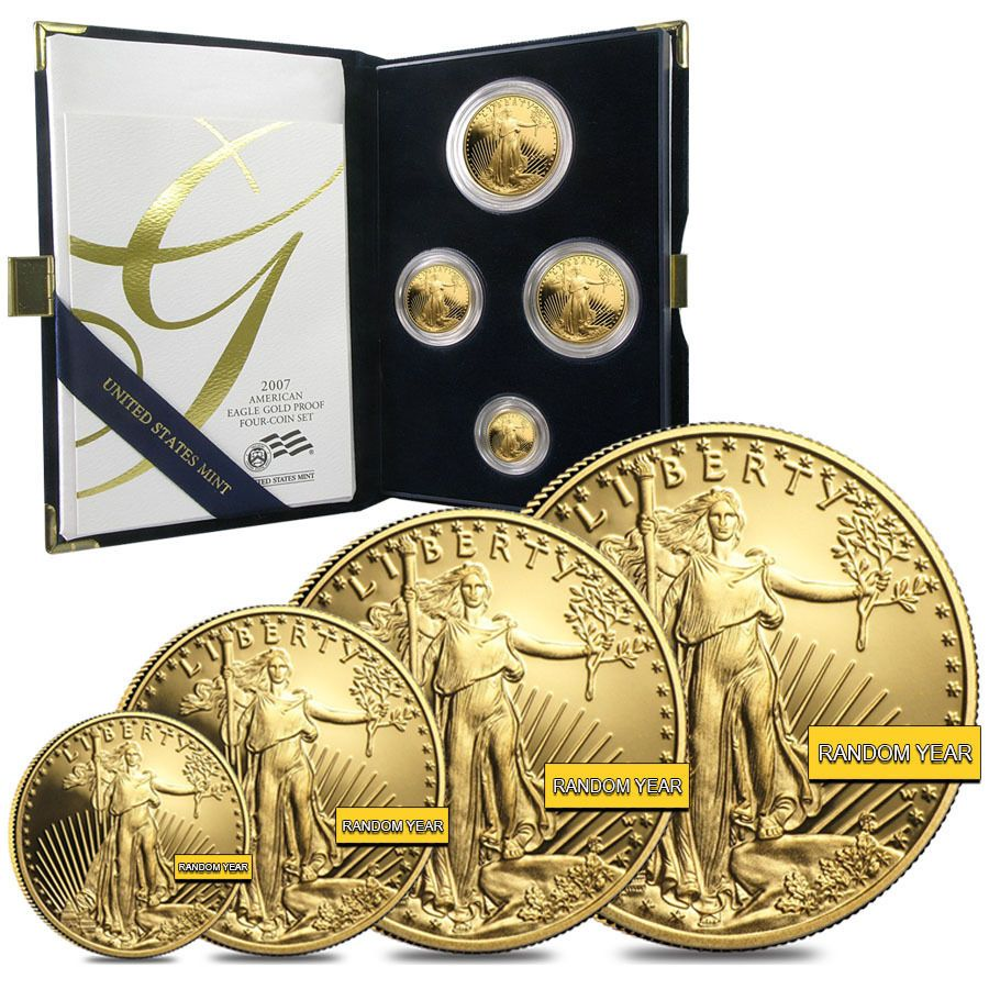 Gold 1 85 Oz American Eagle Proof 4 Coin Set Random Year W Box Coa Coin Set American Eagle Gold American Eagle