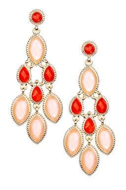 Peach & Gold Chandelier Cascade Multi-Stone Drop Earrings