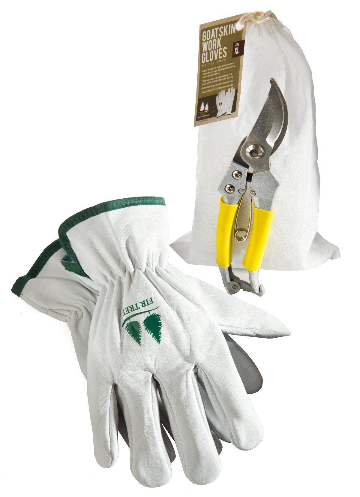 Goatskin leather work gloves - Gardening Tools Set By Fir Tree Goatskin Leather Work Gloves And Stainless Steel Bypass Pruners