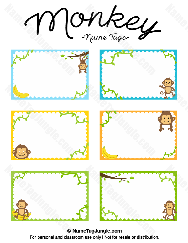 Free Printable Monkey Name Tags The Template Can Also Be Used For Creating Items Like Labels And Name Tag Templates Templates Printable Free Tag Template Free