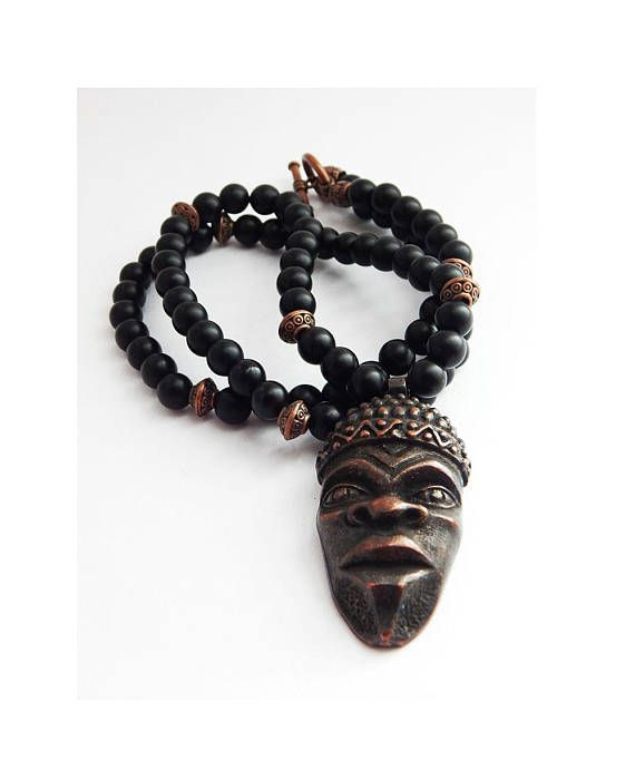 African Face Necklace Beaded Jewelry African Mens Jewelry African