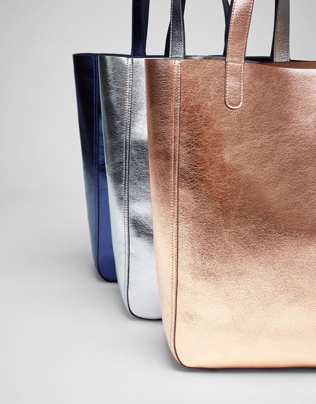 f2f0313419ec Pull Bear - woman - accessories - bags - metallic tote bag - gold -  16505214-I2017