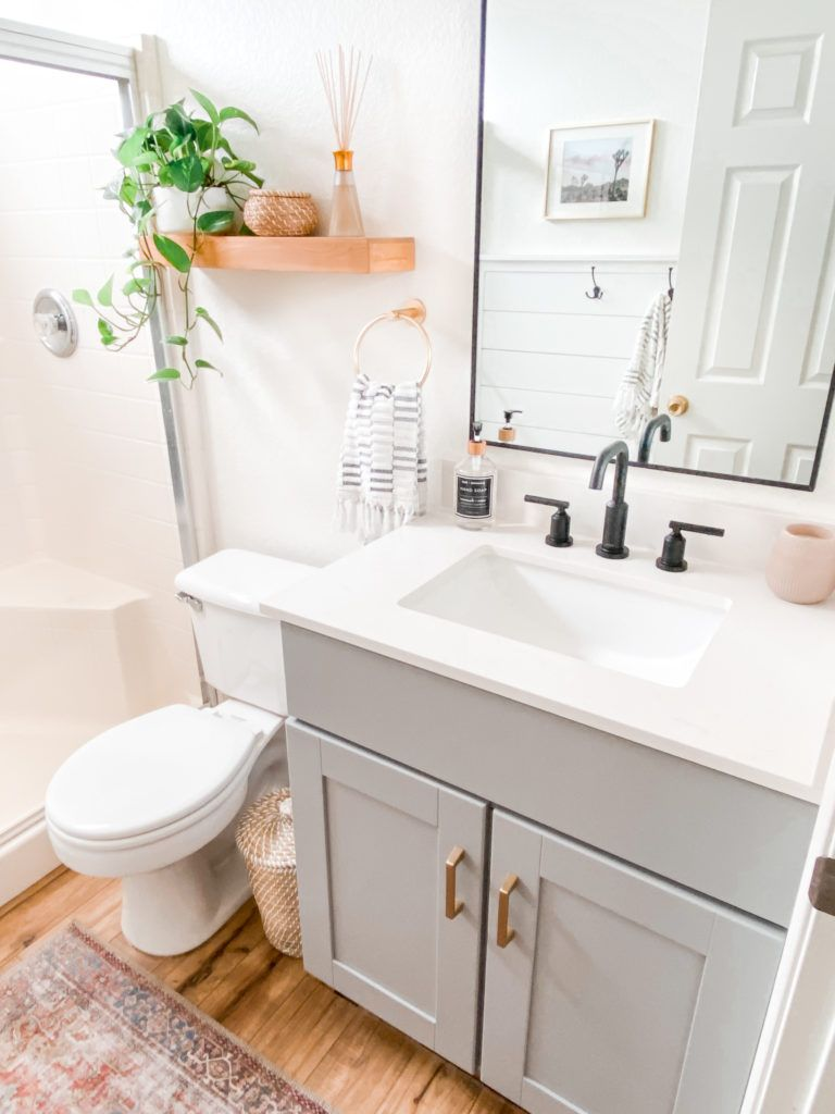 Top US DIY Blogger, Domestic Blonde, features their Small Bathroom Remodel Ideas, including before and after pictures. Click here now for all the info!!