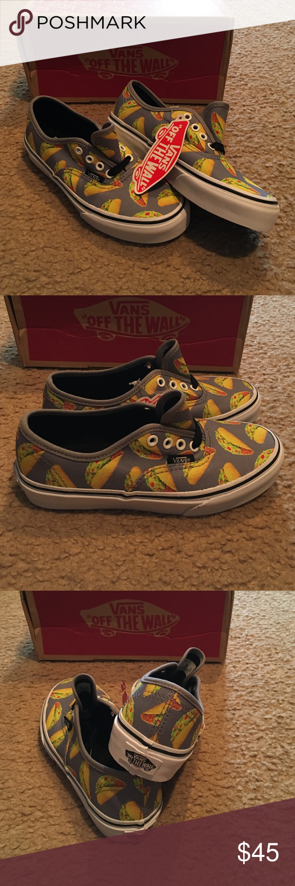 03368e2fbf83 Vans Late Night frost gray Taco sneakers Vans Kids Authentic Late Night  shoe. Boys  low profile shoe. Taco print. Canvas uppers. Rubber waffle  bottom sole.