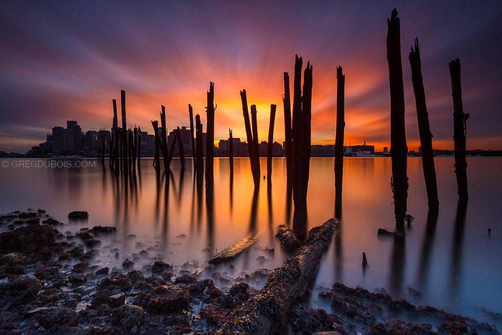 Boston harbor slack water sunset with cloud movement and