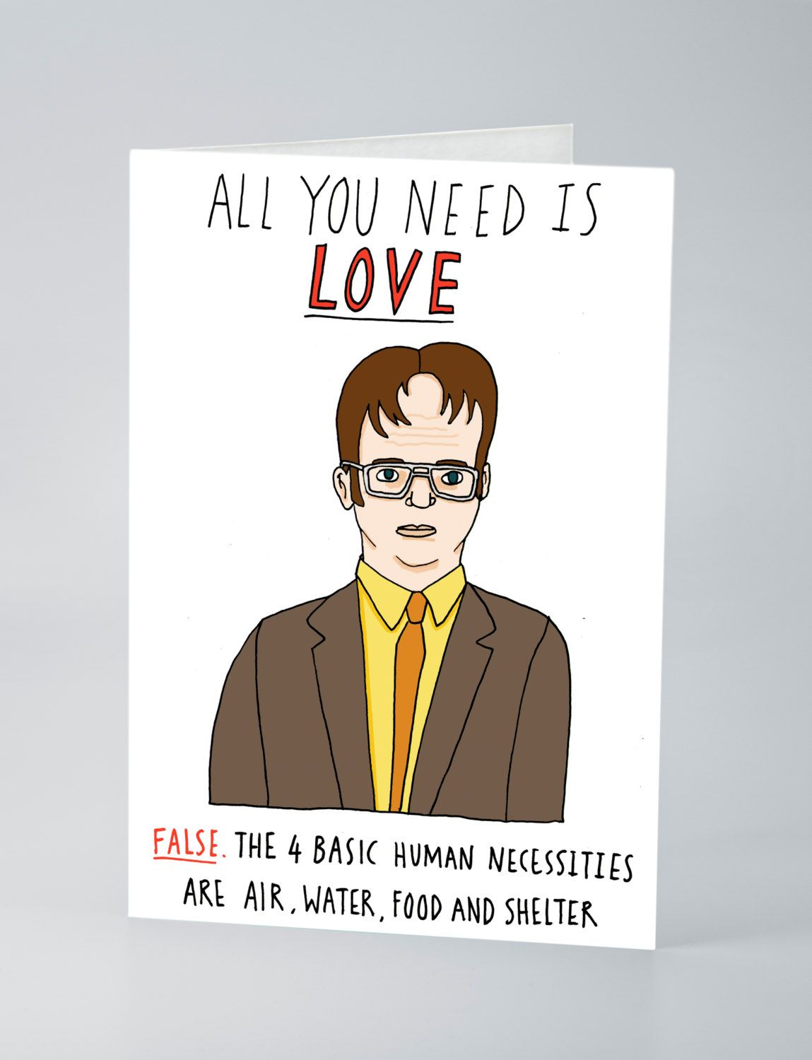 Dwight schrute valentines card by charlyclements on etsy