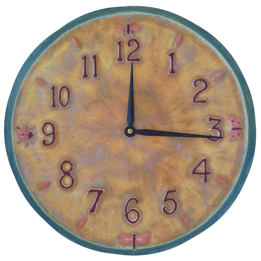 Large Rustic Ceramic Kitchen Wall Clock In Blue Yellow And
