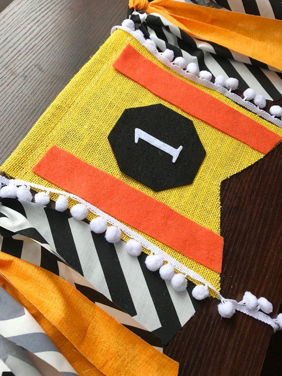 Construction birthday party highchair banner,Yellow ...