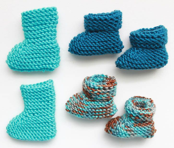 Easy Knitting Patterns For Babies : Easy newborn baby booties knitting pattern gina michele