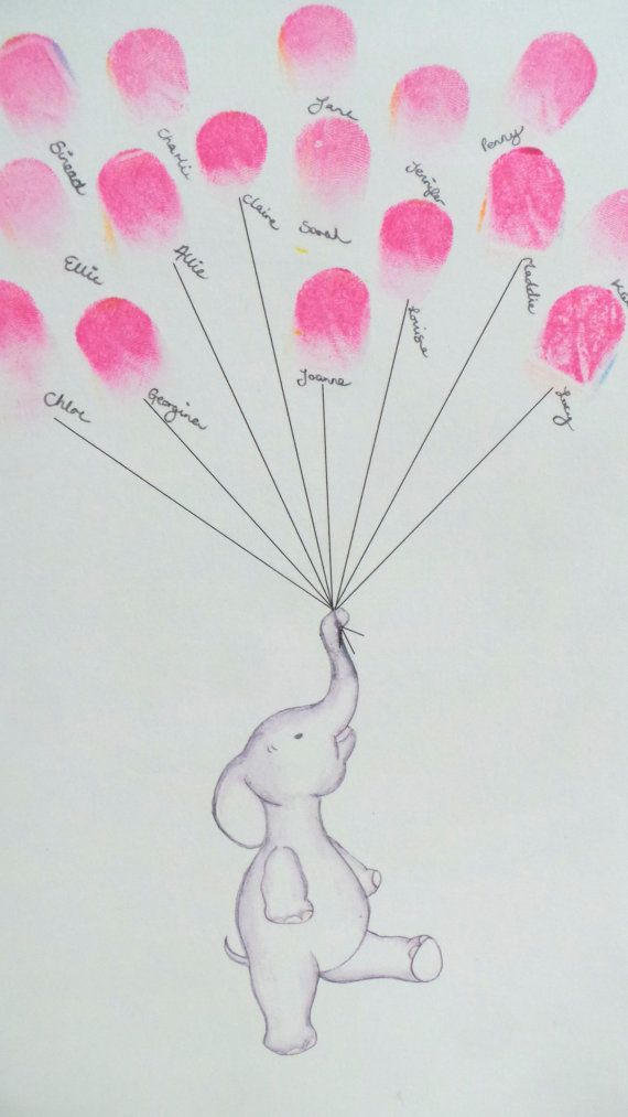 Baby Shower guest book, Keepsake art, elephant holding fingerprint ...