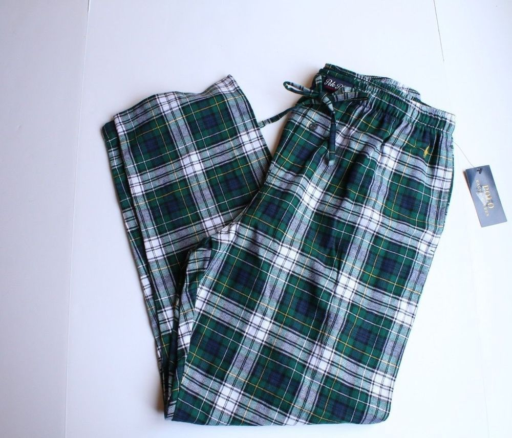 e36d3954ca Ralph Lauren Polo Pajama Pants Sleep Lounge Men's Green Blue Plaid ...