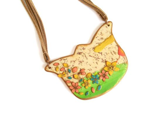 Story statement necklace polymer clay bib necklace wearable art yellow teal pink flowers on nude and green The girl who walked flowers ooak