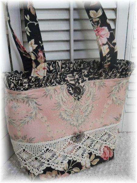 French toile Provence Pink roses Toile tote purse