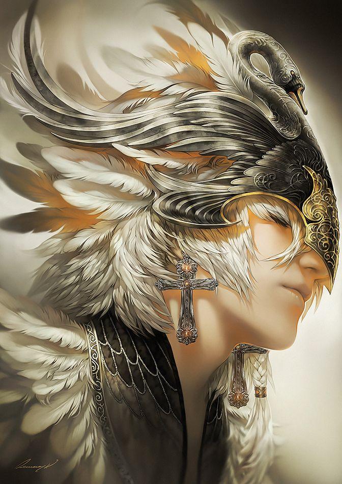 Tamlin Minus The Swan Motif On The Mask White Swan By Tincek