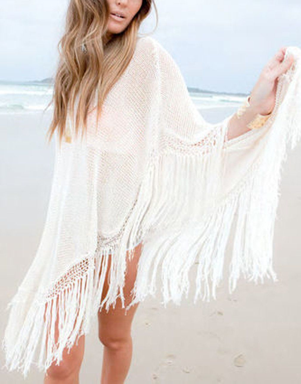 5af5bbf7178cd MG Collection Beige Poncho Crochet Woven Bohemian Fringe Swimsuit Cover Up  Top