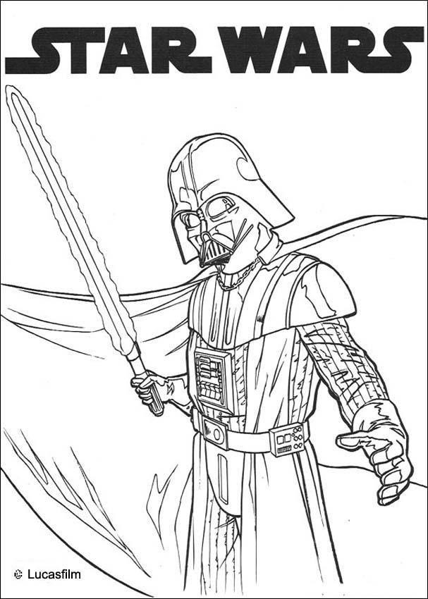 Darth Vader and laser sword coloring page. More Star Wars ...