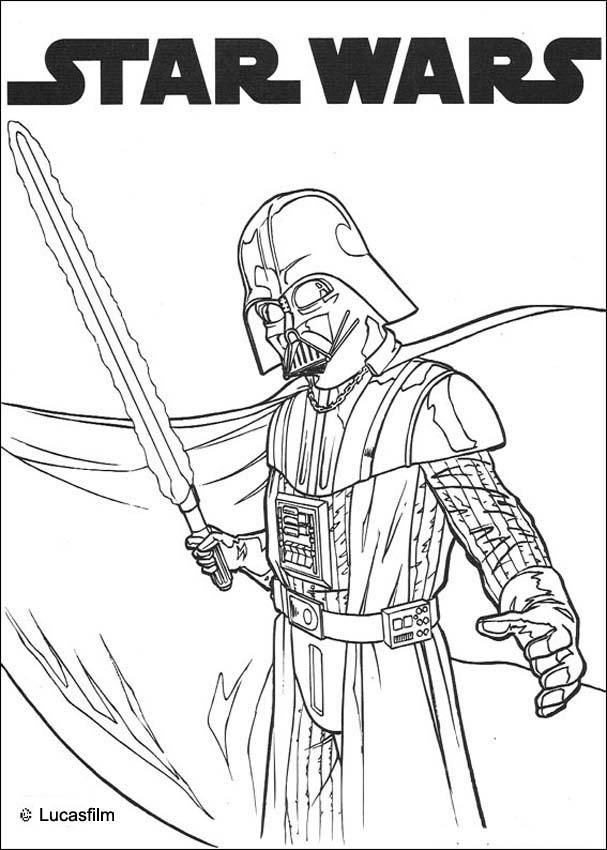Darth Vader And Laser Sword Coloring Page More Star Wars Content
