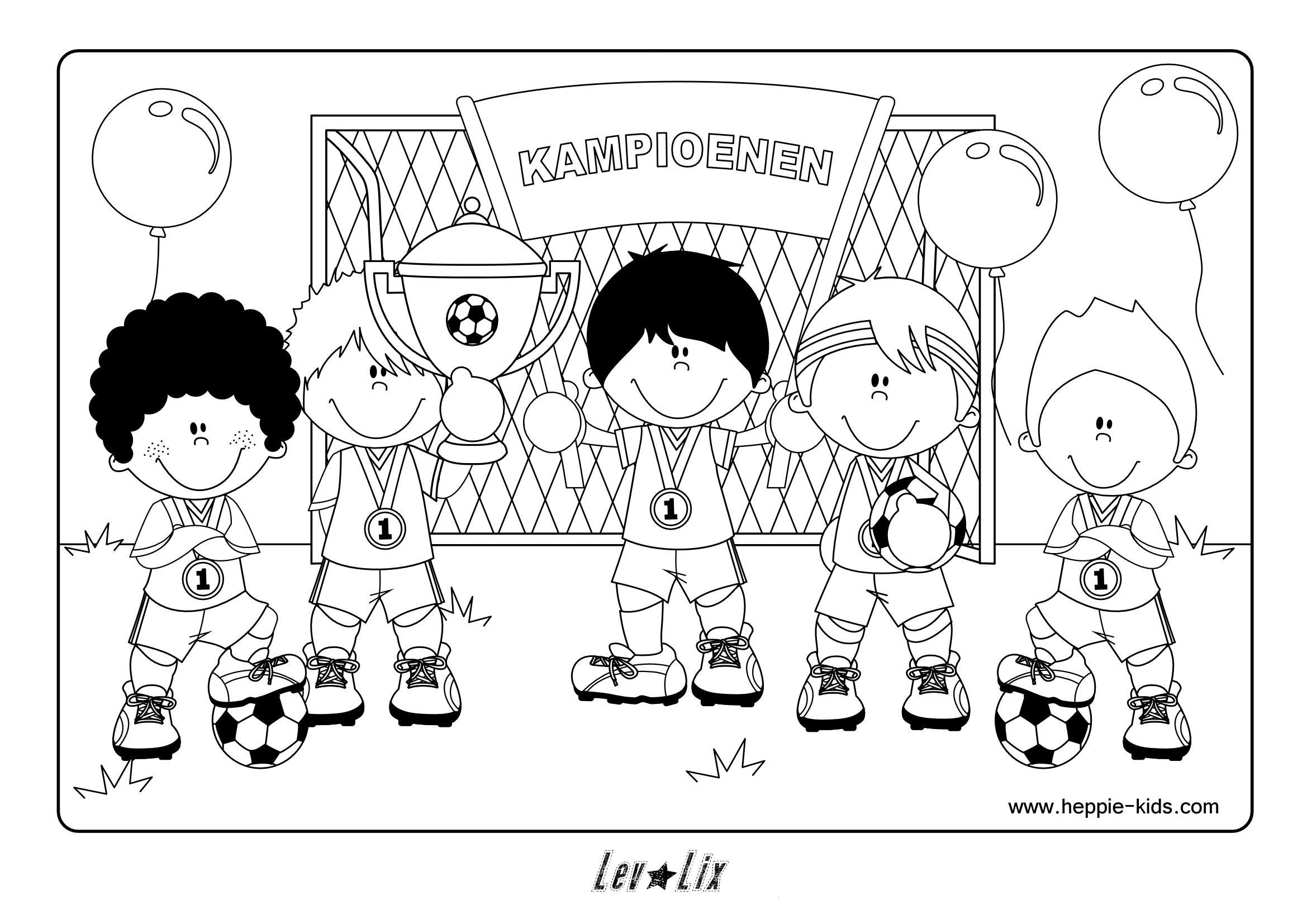 Kleurplaat Voetbal Heppie Kids