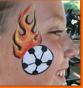 Face Painting Ideas Soccer Ball And Flames