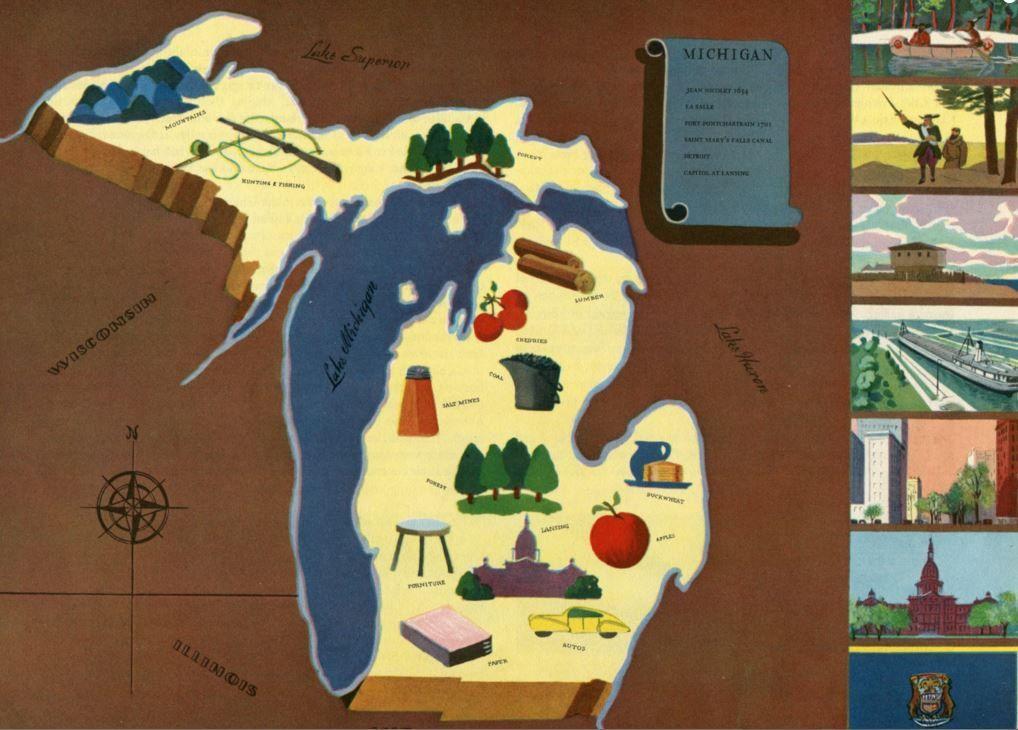 Michigan Map Art / Vintage Pictorial Map / Retro Map Wall Decor ...