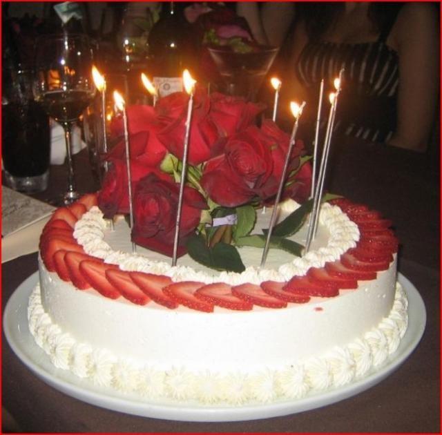 Strawberry Birthday Cake Strawberry And Cream Birthday Cake With - Real birthday cake images