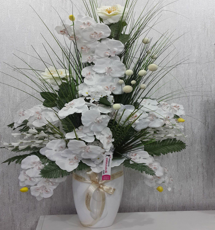 Beyaz orkide yapay çiçek