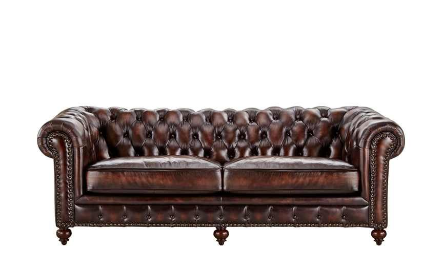 Colonial Style Möbel Uno Sofa 3-sitzig Leder Braun - Leder Chesterfield
