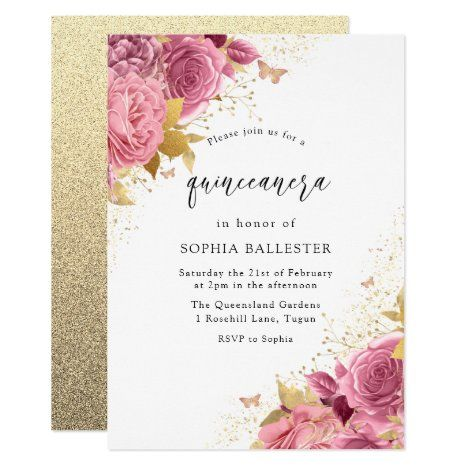 Magical Blush PInk Gold Flowers Quinceanera Party Invitation | Zazzle.com