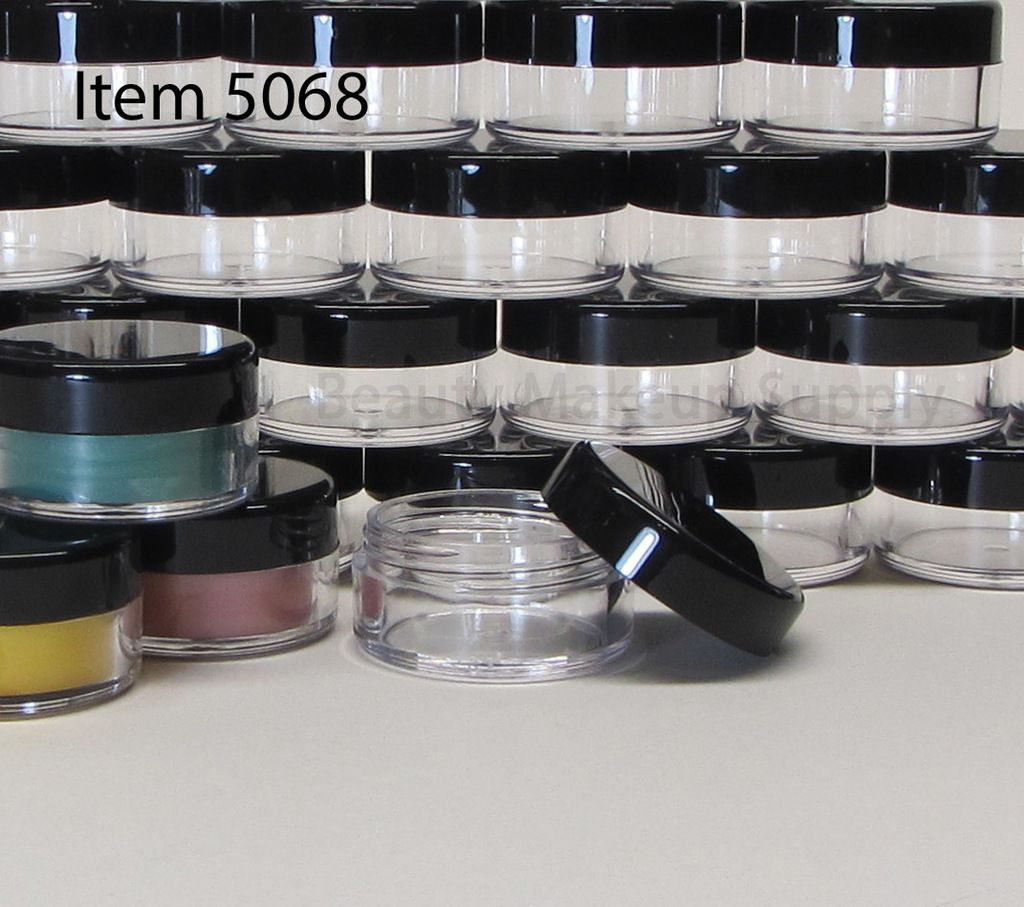 Cosmetic Jars Plastic Beauty Containers 10 Gram Black Cap Sku 5068 Makeup Jars Cosmetics Wholesale Disposable Makeup Applicators