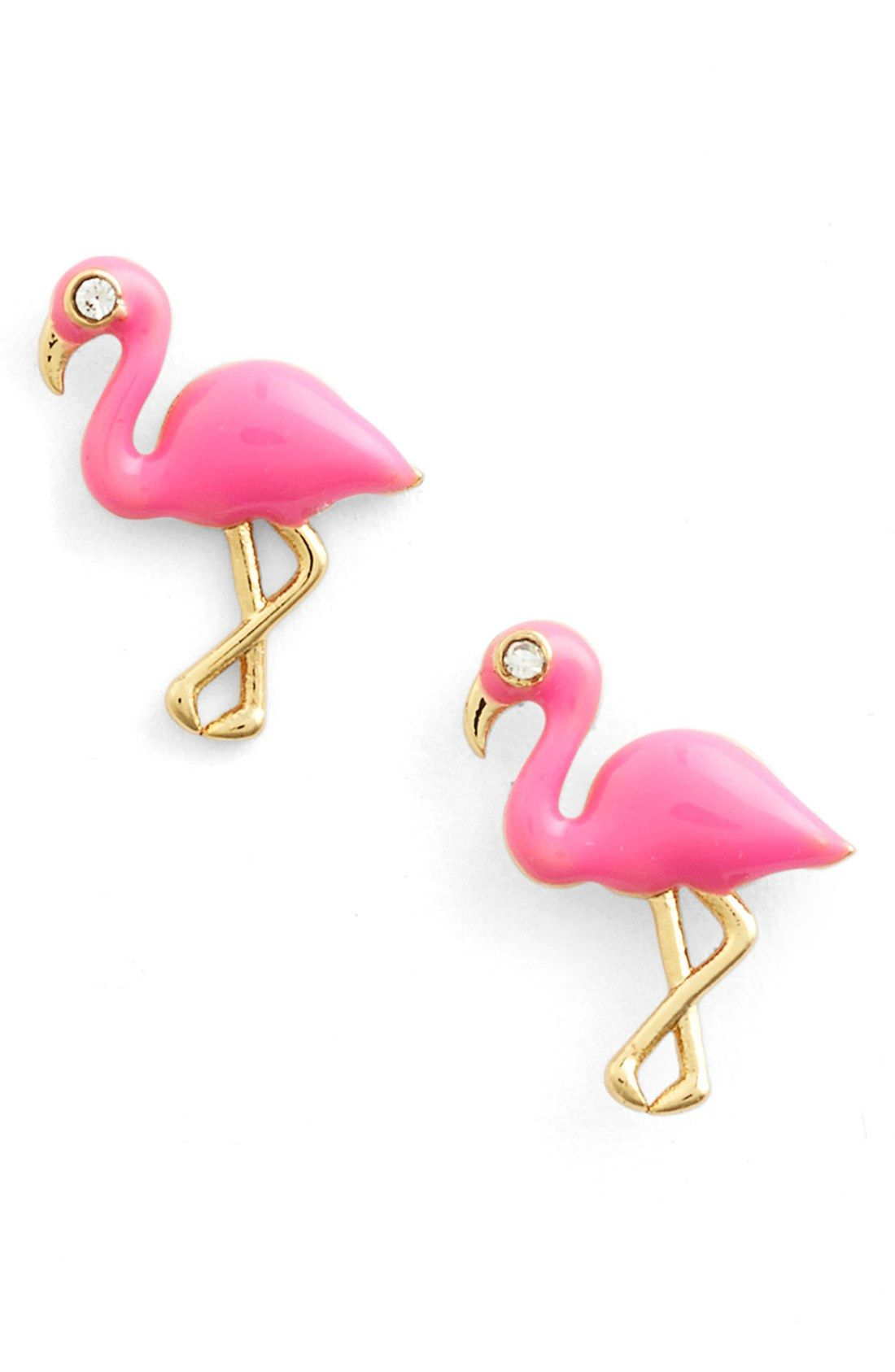 These quirky, pink earrings are all the more fun because of the added crystals.